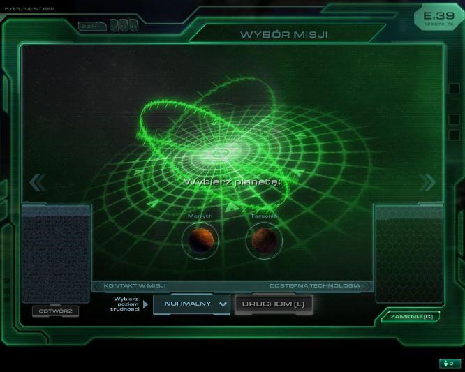 Ekran wyboru misji. Jak widać skromny.